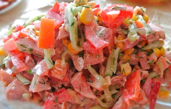 Рецепт салата с копченой курицей
