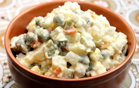 Рецепт вегетарианского салата Оливье
