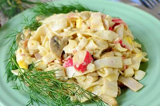 Салат крабовые палочки грибы яйца