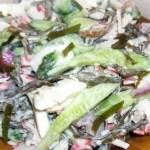 Салаты с крабовыми палочками и морской капустой