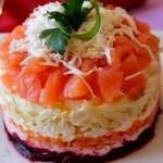 Салатик с соленой семгой - Семга на шубке
