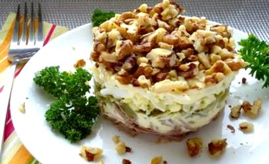 Праздничный салат Мужской каприз с говядиной