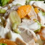 Вкусный салат для похудения из курицы с фруктами