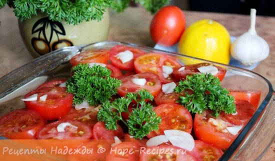 Салат с помидорами и красным перцем