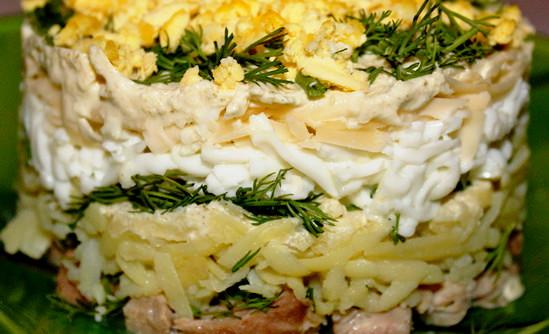 Мясной салат на праздник (слоеный)