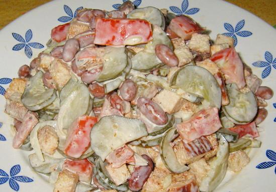 рецепты салатов с майонезом и фасолью