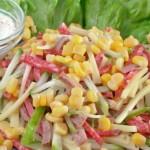 Салат с языком и кукурузой