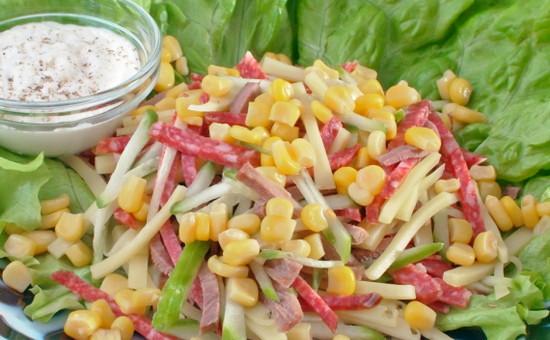 салаты рецепты с овощами и кукурузой