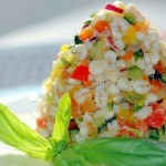 Постный салат с овощами и перловкой