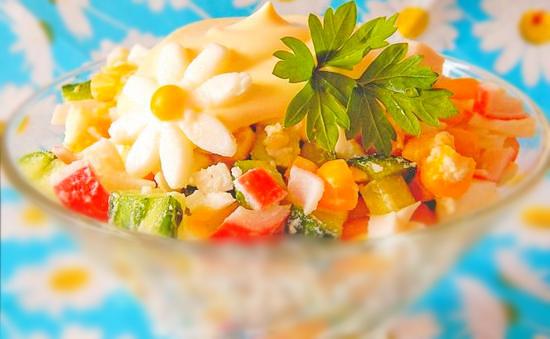 рецепты салатов с крабовыми палочками и перцем