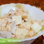 Очень вкусный салат с курицей и фруктами