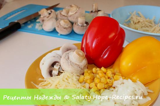 Ингредиенты для приготовления салата Петух