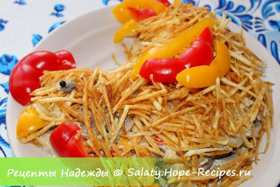 Как приготовить салат Петух
