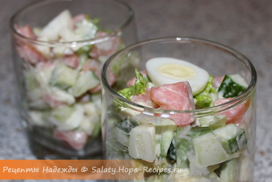 Рецепт с фото салата с красной рыбой и авокадо