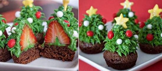 Новогодние кексы в виде елочки