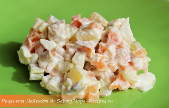 Салат с копченой красной рыбой рецепт