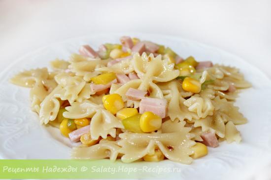 Салат с макаронами и вечиной