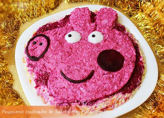 Новогодний салат Свинка Пеппа